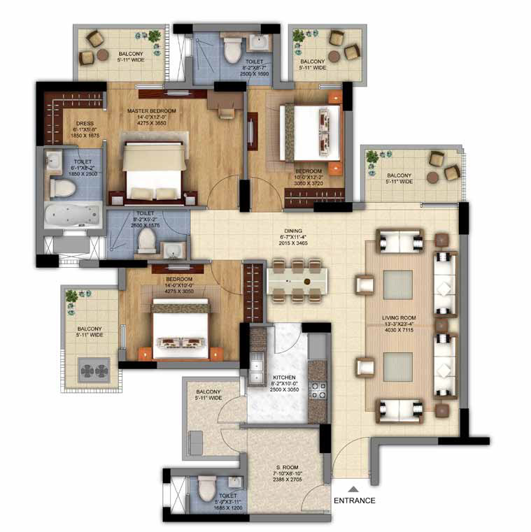 3BHK + S.Room of DLF The Ultima