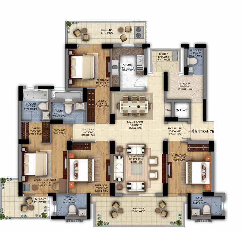 4BHK + S.Room of DLF The Ultima Gurgaon